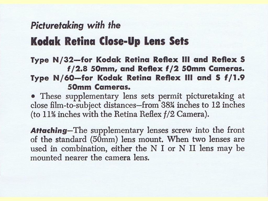 Kodak Retina Close-Up Lens Sets  -  Pt. No. 148661 - 2-64-CH-C